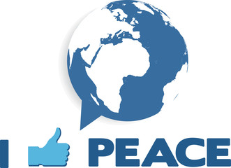 i like peace; globe as speech bubble