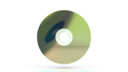Compact disc rotates on white background
