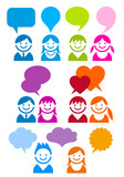 communication people icon set, vector
