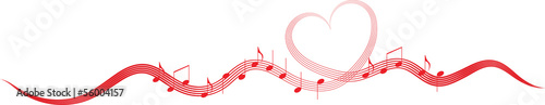 Music Notes on the Heart Wave