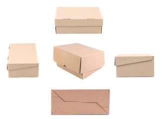 Collage of carton boxes.