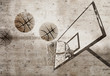 Basketball on urban grunge concrete wall background