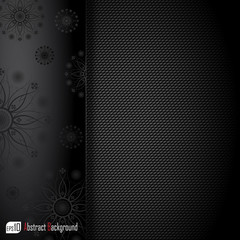 Realistic dark carbon background with floral texture. Vector ill