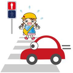 横断歩道 赤信号 幼稚園児 子供 車 飛び出す