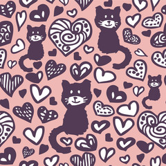Romantic drawings of hearts and cats seamless pattern