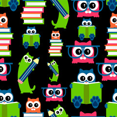 Cute kittens school theme seamless pattern