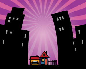 Houses silhouettes on abstract background, vector illustration