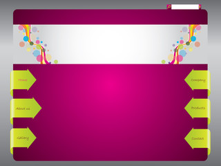 Colorful web template with arrow buttons