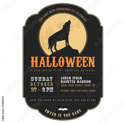 Vintage Halloween invitation with howling werewolf