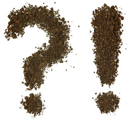 Conceptual question mark and exclamation mark made of soil