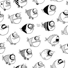 Seamless pattern with funny fish