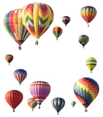 Hot-air balloons arranged around edge of frame allowing space fo