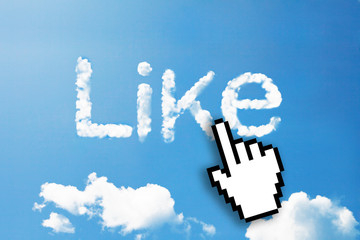 Digital icon hand click on like cloud word