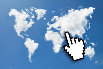 Digital icon hand click on world map cloud shape