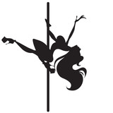 Illustration of silhouette of a dancing girl on a pole