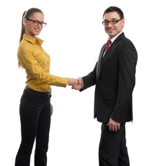 Cheerful businesspeople handshaking