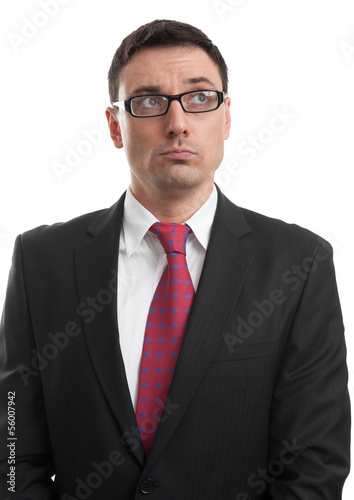 pensive businessman isolated
