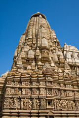 Stone carved temple in Khajuraho, Madhya Pradesh, India