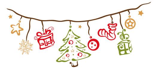 Weihnachts Dekoration, rot, grün, gelb