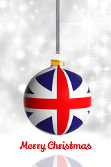 Merry Christmas from United Kingdom. Christmas ball with flag