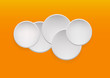 Abstract white paper circles on orange background. Vector