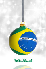 Merry Christmas from Brazil. Christmas ball with flag