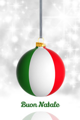 Merry Christmas from Italy. Christmas ball with flag