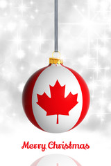 Merry Christmas from Canada. Christmas ball with flag