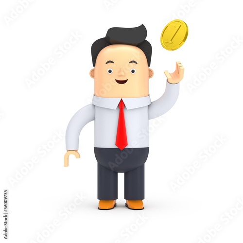 Businessman mit einer Münze - 3D Illustration