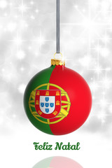 Merry Christmas from Portugal. Christmas ball with flag