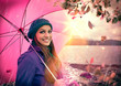 Mädchen mit Schirm im Regen / pink umbrella 02