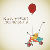 Kid's tricycle and balloon with hearts background