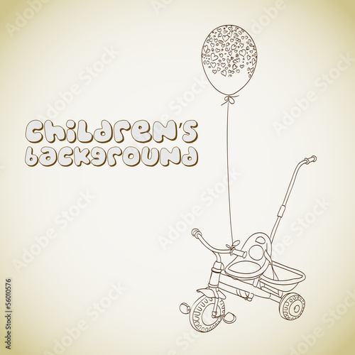 Kid's tricycle and balloon with hearts outlines background