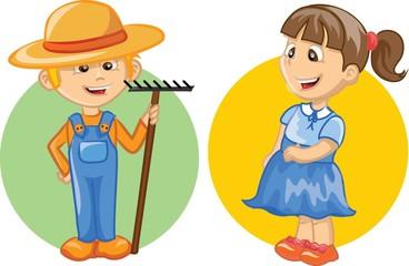 Мультипликационный персонаж милый фермер