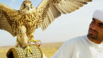 Middle Eastern Falconer with Bird of Prey Close Up