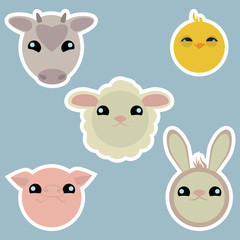 Adorable domestic animals stickers