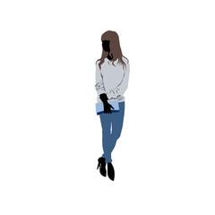 Shopping girl with long brown hair - siluet