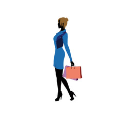 Blond girl with shopping bags - siluete