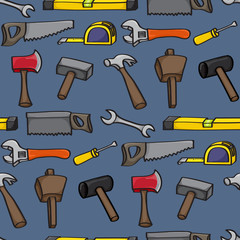 Seamless background tile with hand drawn cartoon building tools.