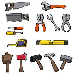 Set of 15 hand drawn cartoon building tools.