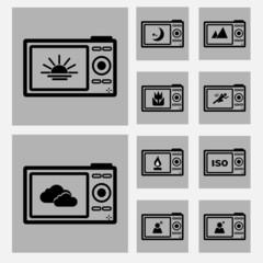 Camera back scene icons concept ideas bw