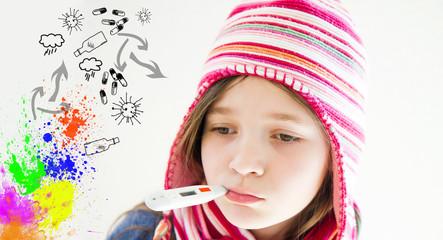 bambina con influenza