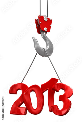 Numbers 2013 on crane hook   (clipping path included)