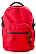 canvas print picture - Red backpack standing on white background