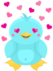 Cute blue cartoon kawaii style water bird with hearts for eyes