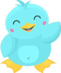 Super cute blue cartoon kawaii style water bird waving