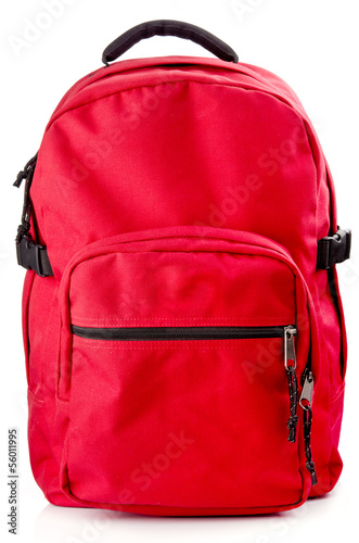 canvas print picture Red backpack standing on white background