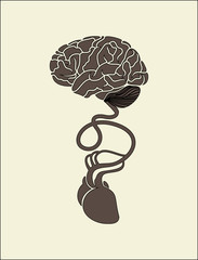 conceptual image of brain and heart connected together