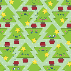 Seamless Cartoon Kawaii Christmas Tree Background