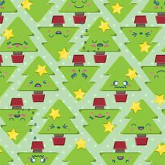 Seamless Cartoon Kawaii Christmas Tree Background